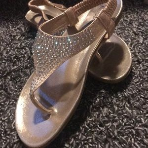Gold Size 8 Bling Strappy Sandals